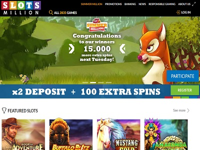 slotsmillion casino screenshot homepagina