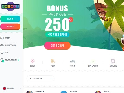 spinia casino screenshot homepagina
