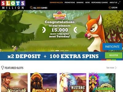slotsmillion casino screenshot homepagina
